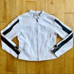 White Leather Moto Jacket Cafe Racer Stripe Small